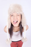 Beautiful Girl in Furry Hat. Winter Woman Portrait Royalty Free Stock Photography