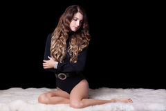 Beautiful girl on furs Royalty Free Stock Images