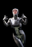 Beautiful girl in futuristic suit royalty free stock image