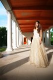 Beautiful girl in gallery Royalty Free Stock Image