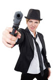 Beautiful girl gangster holding a gun. Classic Stock Images