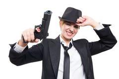 Beautiful girl gangster holding a gun. Classic Stock Photo