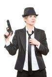 Beautiful girl gangster holding a gun. Classic Royalty Free Stock Photos