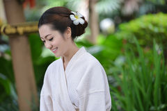 Beautiful girl in garden Royalty Free Stock Photos