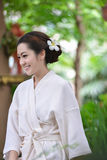 Beautiful girl in garden Stock Photos