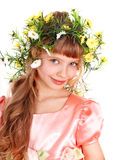 Beautiful girl with garland of spring flower. Royalty Free Stock Images