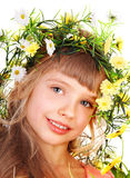 Beautiful girl with garland of wild flower. Royalty Free Stock Photo