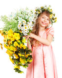Beautiful girl with garland of wild flower. Stock Photos