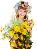 Beautiful girl with garland of wild flower. Stock Photo