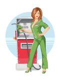 Beautiful girl on gas pump station. Beautiful girl on. Eps10 vector illustration.  on white background Royalty Free Stock Photos