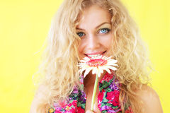 Beautiful girl and gerbera Royalty Free Stock Photos