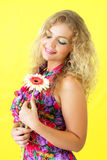 Beautiful girl and gerbera Royalty Free Stock Image