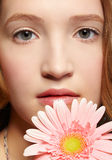 Beautiful girl with gerbera Stock Images