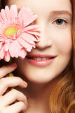 Beautiful girl with gerbera Stock Image