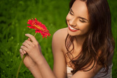 Beautiful Girl With Gerbera Flower Stock Photography