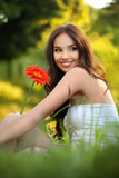 Beautiful Girl With Gerbera Flower Royalty Free Stock Photos
