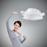 Beautiful girl gestures triumphal fists Stock Photography