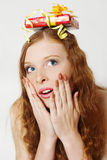 The beautiful  girl with a gift Royalty Free Stock Photography