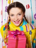 Beautiful girl with gift Royalty Free Stock Photos