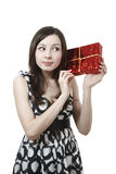 Beautiful girl with gift Royalty Free Stock Images