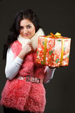 Beautiful girl with a gift Royalty Free Stock Image