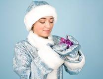 Beautiful girl with gift box Stock Photo