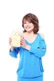Beautiful girl with a gift box Royalty Free Stock Photo