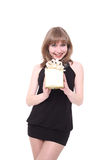 Beautiful girl with a gift box. Royalty Free Stock Image