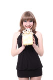 Beautiful girl with a gift box Royalty Free Stock Image