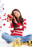 Beautiful girl  with gift box Royalty Free Stock Images