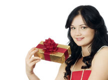 Beautiful girl with a gift box Stock Image