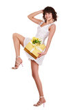 Beautiful girl with gift box and flower. Royalty Free Stock Photography