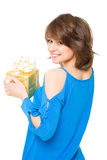 Beautiful girl with a gift box. Stock Photo