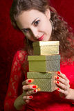 Beautiful girl with gift box Stock Photos