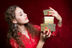 Beautiful girl with gift box Stock Photo