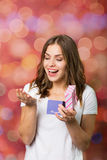 Beautiful girl with a gift box Royalty Free Stock Photos