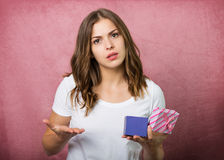 Beautiful girl with a gift box Stock Photography