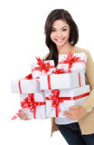 Beautiful girl with a gift boxes Stock Image