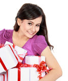 Beautiful girl with a gift boxes Stock Photos