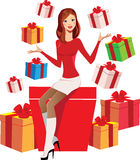 Beautiful girl with gift boxes Royalty Free Stock Photo