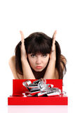Beautiful girl with gift in red box with silver ribbon on white Royalty Free Stock Photography