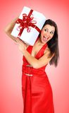 Beautiful girl with gifts Stock Photos