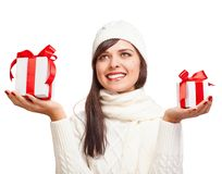 Beautiful girl with gifts Royalty Free Stock Photo