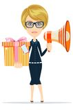 Beautiful girl with gifts, vector illustration Royalty Free Stock Image