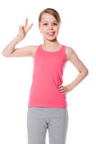 Beautiful Girl Giving Victory Sign Stock Photos