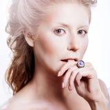 Beautiful girl with glamour Christmas makeup Stock Photos