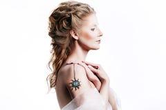 Beautiful girl with glamour Christmas makeup Stock Images