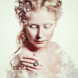 Beautiful girl with glamour Christmas makeup Stock Photography