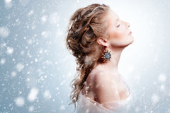 Beautiful girl with glamour Christmas makeup Stock Photography