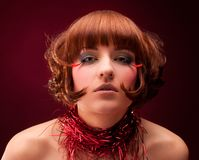 Beautiful girl with glamour make-up Stock Images